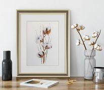 Baumwolle, Pflanzen, Blumen, Aquarell