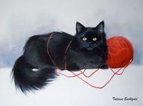 Postkarten, Illustration, Katze, Schwarze katze