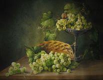 Korb, Schnecke, Weintrauben, Aquarell