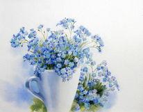 Vergissmeinnicht, Blumen, Blau, Aquarell
