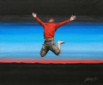 Springen, Acrylmalerei, Malerei