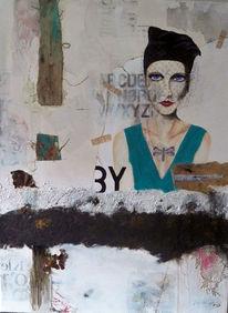 Acrylmalerei, Typo, Frau, Beige