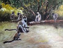 Affe, Affengruppe, Busch, Malerei