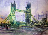 London, Brücke, Aquarell