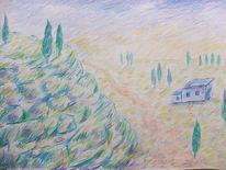 Haus, Zypressen, Felsen, Zeichnungen
