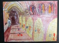 Gewölbe, Glasfenster, Mönch, Aquarell