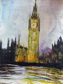 London, Turm, Big ben, Aquarell