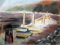 Tanker, Riff, Ufer, Zeichnungen