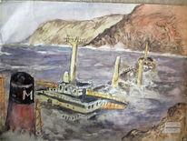 Ufer, Meer, Tanker, Aquarell