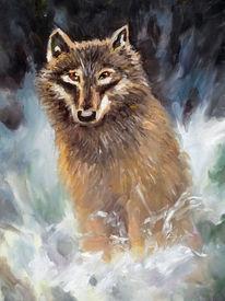 Wolf, Hund, Schnee, Malerei