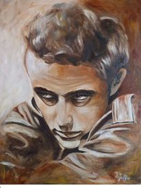 James dean, Ölmalerei, Gesicht, Portrait