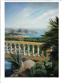 Küste, Landschaft, Spanien, Ölmalerei