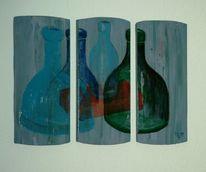 Flasche, Acrylmalerei, Triptychon, Malerei