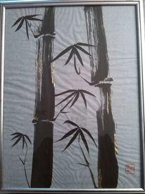 Tusche, Siegel, Bambus, Blattmetall