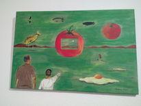 Bunt, Landschaft, Spiegeleier, Tomate