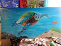 Schildkröte, Wasser, Fisch, Stein