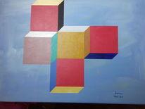 Würfel, Bunt, Acrylmalerei, Malerei