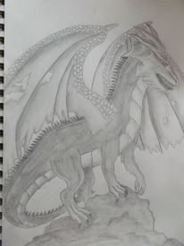 Drache, Schwarz weiß, Fantasie, Zeichnungen