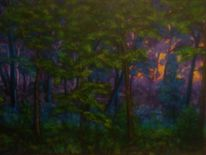 Sonnenuntergang, Pflanzen, Natur, Acrylmalerei