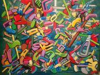 Spontanität, Ölmalerei, Magenta, Komplexität