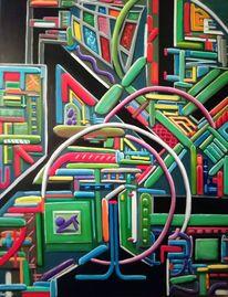 Geometrie, Komplexität, Ölmalerei, Abstrakt