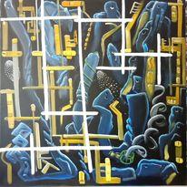 Blau, Komplexität, Ölmalerei, Dunkel