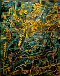 Fantasie, Ausdruck, Blau, Ölmalerei