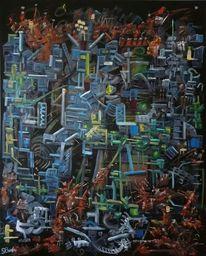 Komplexität, Fantasie, Dunkel, Ölmalerei