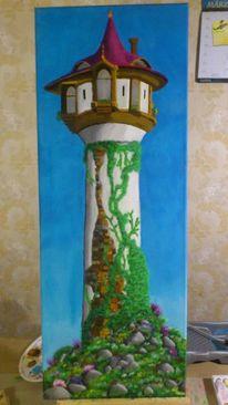 Grün, Acrylmalerei, Malerei, Turm