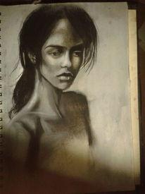 Zeichnung, Kohlezeichnung, Frau, Kreide