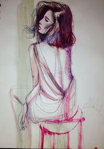 Zeichnung, Frau, Mädchen, Aquarellmalerei