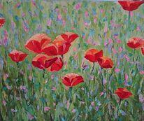 Garten, Acrylmalerei, Blumen, Natur