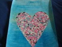 Ozean, Herz, Konfetti, Acrylmalerei