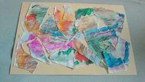 Collage, Betreibungsurkunde, Gouachemalerei, Malerei