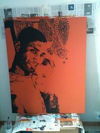Liebe, Acrylmalerei, Portrait, Malerei