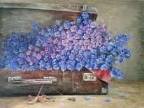 Braun, Blumen, Ölmalerei, Landhaus style