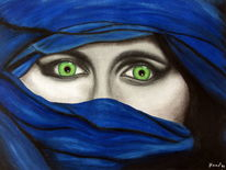 Gesicht, Portrait, Blau, Afrika