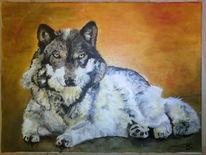 Wild, Ölmalerei, Wolf, Einsamkeit