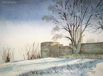 Aquarellmalerei, Winter, Burg volmarstein, Schatten