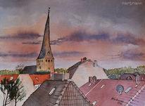 Dach, Abendstimmung, Aquarellmalerei, Kirche
