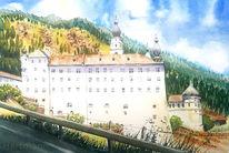 Kirche, Südtirol, Kloster, Aquarell