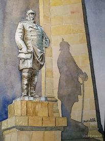 Aquarellmalerei, Hohensyburg, Monument, Licht und schatten