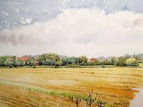 Feld, Aquarellmalerei, Himmel, Landschaft