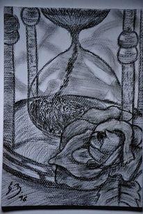 Zeit, Sanduhr, Rose, Blume