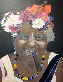 Blumen, Kuba, Zigarre, Lächeln
