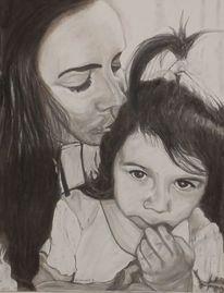 Tochter, Zeichnung, Kohlezeichnung, Mutter