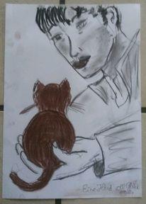 Mann, Katze, Liebe, Zeichnungen