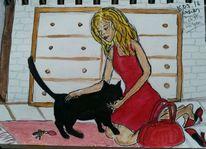 Frau, Katze, Nach hause kommen, Malerei