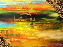 Abstrakt, Rot, Zwielicht, Abstrakte landschaft