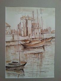 Boot, Landschaft, Haus, Aquarellmalerei